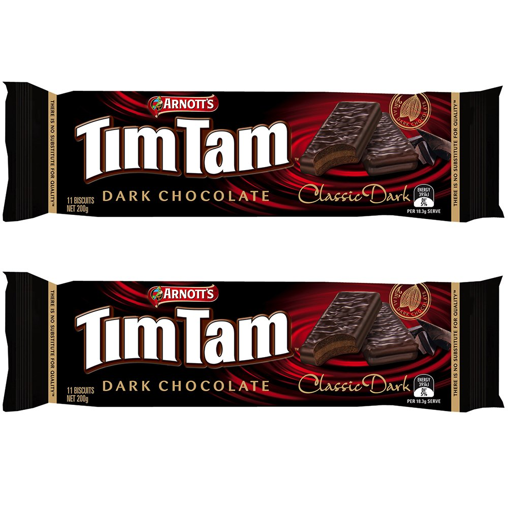 Arnott's Tim Tam | Full Size | Made in Australia | Choose Your Flavor (2 Pack) (Dark Chocolate)