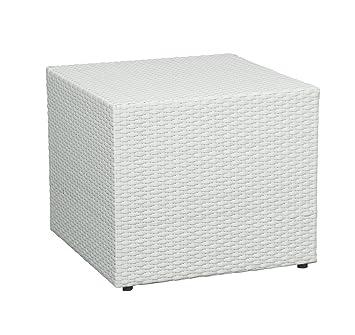 Gartentisch 50x50.Gastro Gartentisch 50x50 Garten Hocker Tisch Beistelltisch Rattan Optik Weiß