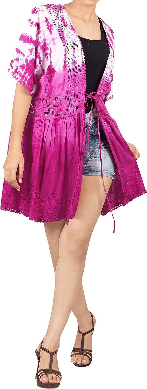 TALLA ES TAMAÑO: 42 (L) - 48 (XL). LA LEELA Bordado Mujer rayón Corto teñido Anudado Kimono Chaqueta de Punto para Camisa Playa Capa Bikini Cubren Punta Kimono A