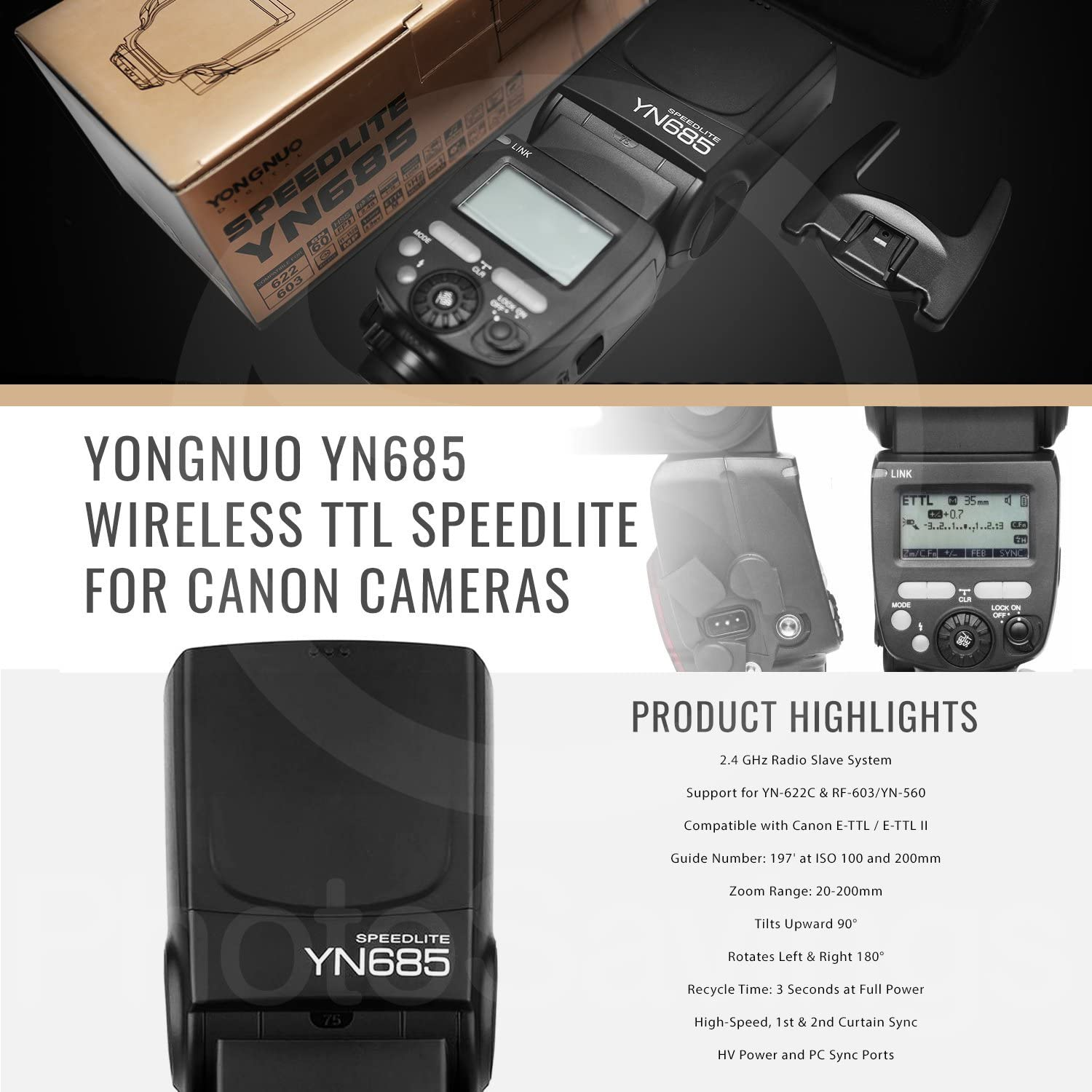 Yongnuo YN685 Wireless TTL Speedlite for Canon Cameras with Flash Bracket and Diffuser Xpix Cleaning Kit DSLR Shoulder Strap and Deluxe Bundle