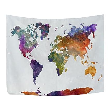 Amazon.com: ALAZA Hand Drawn Grunge Watercolor World Map Polyester ...