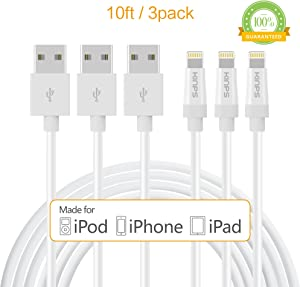 KINPS Apple MFi Certified Lightning to USB Cable 10ft/3m iPhone Charger Cord Super Long for iPhone Xs/XS Max/XR/X / 8/8 Plus / 7/7 Plus / 6S / 6S Plus, iPad Pro/Air/Mini (White, 3 Pack)