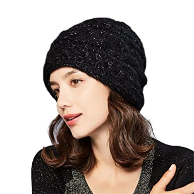 16bae06033180 Women s Mohair Wool Blend Cable Knitted Hat Winter Beanie Ski Cap with  Metal Diamond  K