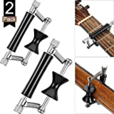 2 Pack Guitar Rolling Capo Sliding Capo Adjustable Capo Rubber and Stainless Steel Capo for Tuning Tone of String Instruments Like Folk Classic Acoustic Electric Guitar Ukulele Mandolin Banjo