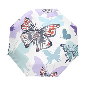 Vipsk Paraguas Plegable Pintado Colorido Viaje de la Mariposa Paraguas a Prueba de Viento Compacto automático