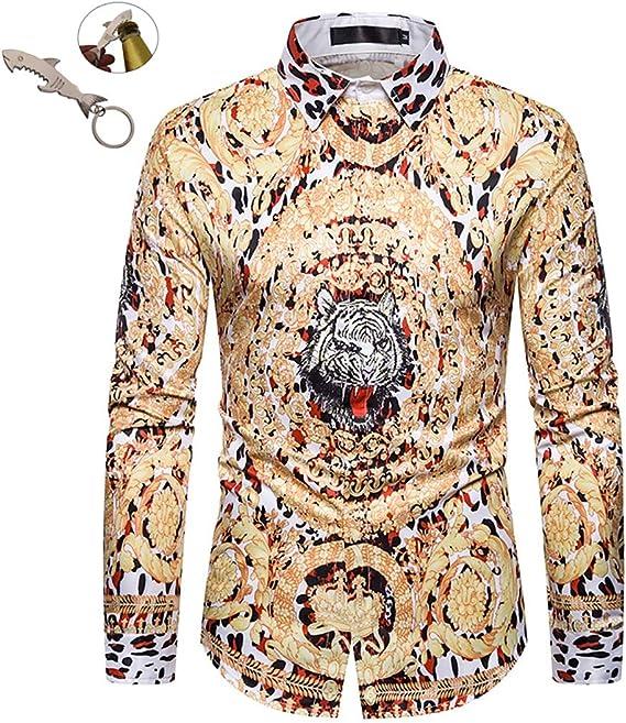 G&Armanis shop Otoño Nueva Camisa de Hombre, Marea Marca Leopardo Corona Dorada Camisa Casual Camisa de Manga Larga M-XXXL,XXL: Amazon.es: Deportes y aire libre