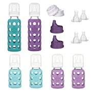 Lifefactory 6 Bottle Starter Set, (4) 4-Ounce Baby Bottle in Mint/Lavender, (2) 9-Ounce Baby Bottle in Kale/Grape, (2) Flat Caps, (2) Sippy Caps, (2) Stage 2 Nipples