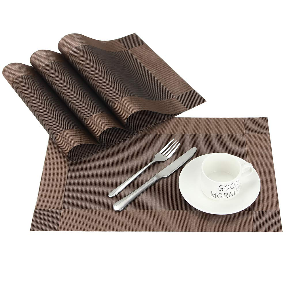 CHAOCHI Placemats Set of 4 Easy Wipe Clean Kitchen Dinner Table Mats Washable Woven Vinyl Placemats Stain Resistant Nonslip PVC Braided Place Mats for Dining Tablet, 45CM X 30CM (Dark Brown)
