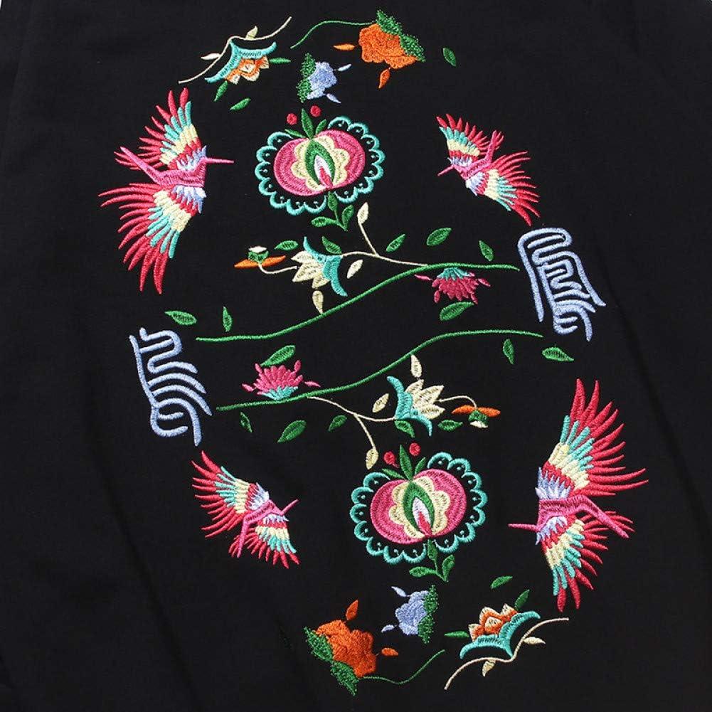 SONGHJ Streetwear Hoodie Herren Pullover Chinesische Schriftzeichen Gesticktes Fliegendes Kranich Sweatshirt Herbst Baumwolle Und Leinen Blumen Sweatshirt M