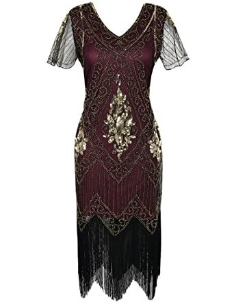 7c05c646 kayamiya Women's Great Gatsby Dress 1920s Sequins Art Deco Flapper Cocktail  Dress with Sleeve S Gold