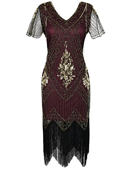 6ad274e3ad kayamiya Women's Flapper Dresses 1920s Sequins Art Deco Gatsby Cocktail  Dress with Sleeve