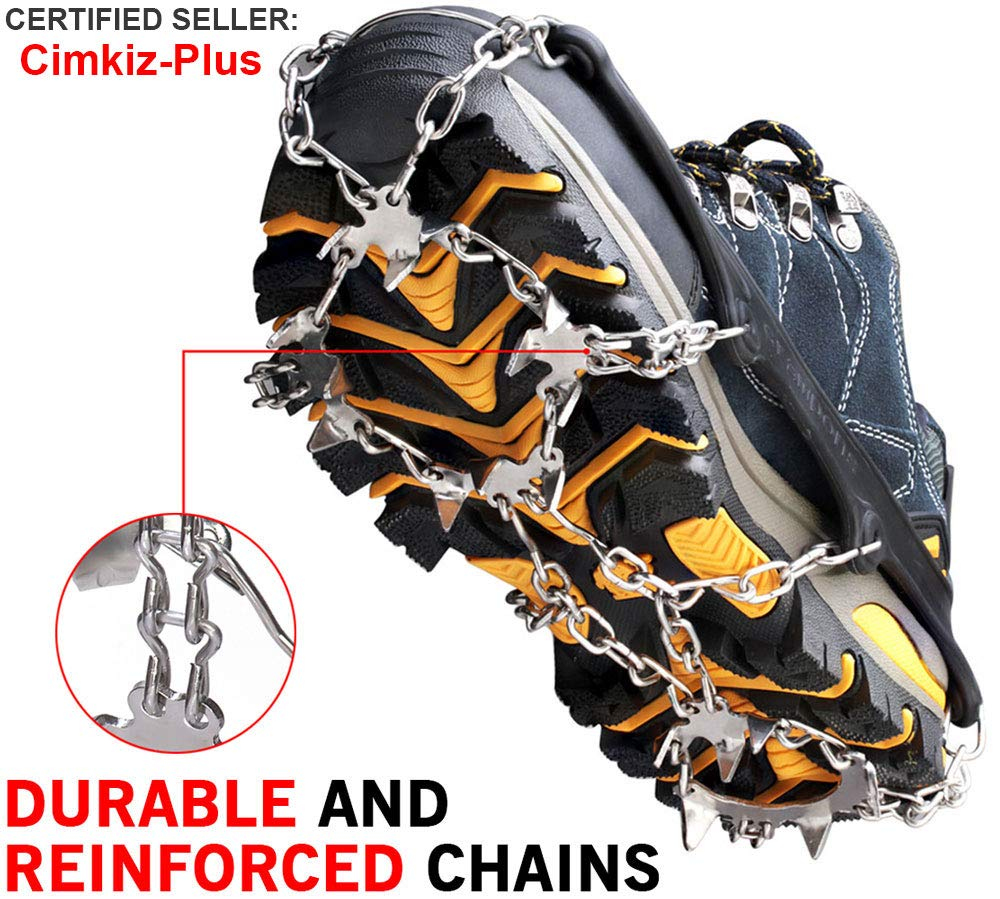 6d39b349a Ice Cleats Crampons Traction Snow Grips for Boots Shoes Women Men Kids Anti  Slip 19 Stainless Steel Spikes Safe Protect for Hiking Fishing Walking ...