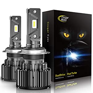 Cougar Motor H7 LED Headlight Bulbs, 10000Lm 6K Xenon White All-in-One Conversion Kit
