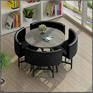 Home Table and Chair Set, Nordic Office Negotiation Table Combination Leisure Cafe Sofa Leather Seat Comfortable Soft Kitchen Fast Food Shop Living Room Leisure Lounge Area Library Dessert Shop