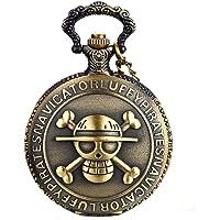 JewelryWe Reloj de Bolsillo Bronce Retro, One Piece Pirata Cráneo, Reloj de Bolsillo Cuarzo Cadena de 80 cm, Regalos Dia…