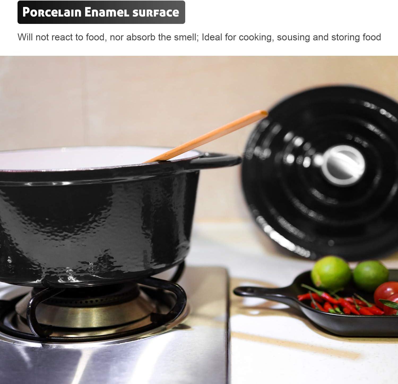 Schwarz Puricon Emaille Gusseisen Kochtopf Backblech 5.2 L 26 cm Kapazit/ät Auflauf mit runder Kapazit/ät