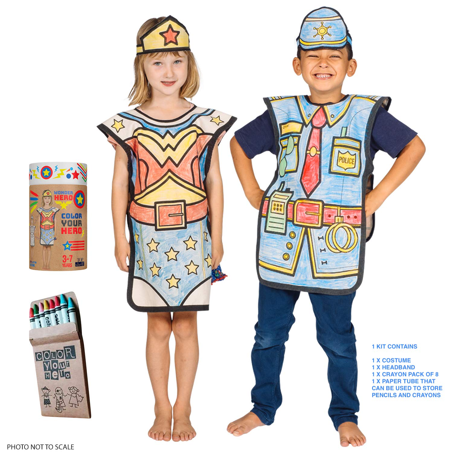 Police Officer Costume Kids Eco Coloring Set - 100% Cotton,8 Crayons, Reusable Eco Paper Tube for Children 3-7 Years