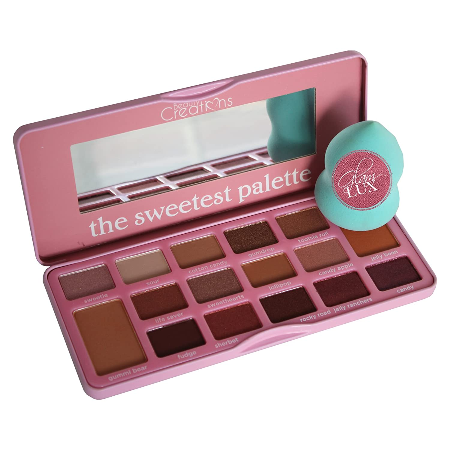 Glam Lux Bundle Beauty Creations Sweetest Palette 16 gorgeous candy scented shades Ultra Long lasting Pigmented Mineral Pressed Shimmer and Matte Eye shadow Palette and Glam Lux Beauty Blender