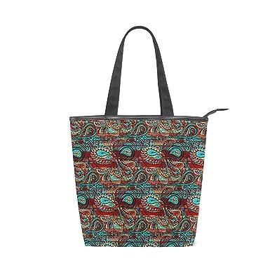 76d3a812d77 Amazon.com: Paisley Bright Decorative Pattern Canvas Tote Handle Bag ...
