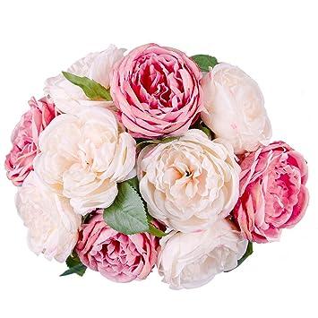 10 Blute Blatt Kunstliche Rose Wohnaccessoires Deko Kunstblumen
