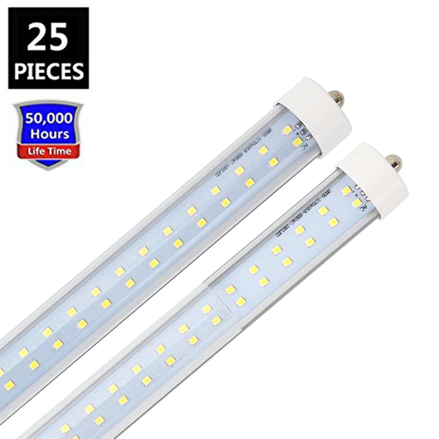 JESLED T8/T10/T12 8FT LED Tube Light, Single Pin FA8 Base, 72W 7200LM, 6000K Cool White, 8 Foot Dual Row LED Fluorescent Bulbs (150W Replacement), Clear Cover, Dual-Ended Power (Ballast Removal)