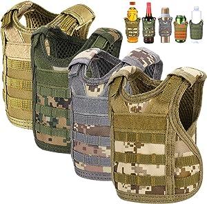Accmor Tactical Mini Beer Vests, 4 Pack Molle Beer Jacket Camouflage Beverage Coolie Cooler Adjustable Drink Bottle Vests Holder for 12oz or 16oz Cans or Bottles Decoration