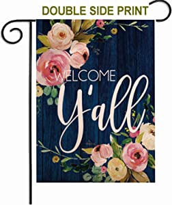ZUEXT Welcome Yall Spring Floral Garden Flag 12.5x18 Inch Double Sided Print, Colorful Cotton Linen Summer Yard Flags Decoration, House Yard Flag Sign