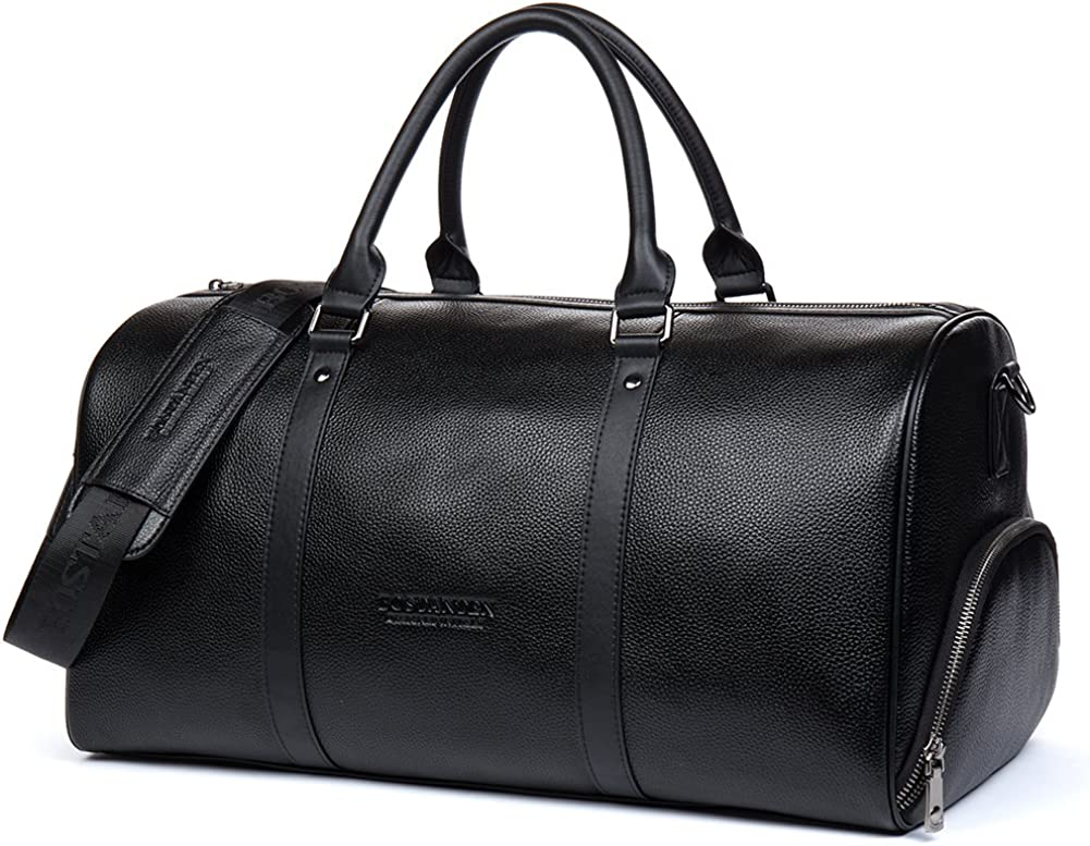 BOSTANTEN Genuine Leather Travel Weekender Overnight Duffel Bag Gym Sports Luggage Tote Duffle Bags For Men