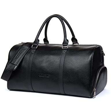 92d6e132b5df Image Unavailable. Image not available for. Color  BOSTANTEN Genuine Leather  Travel Weekender Overnight Duffel Bag Gym Sports Luggage ...