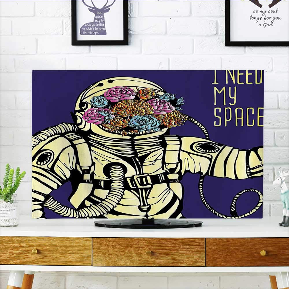 Leighhome Dust Resistant Television Protector Cosmonaut Man in cesuit Solar System Alien Comet Yellow Blue tv dust Cover W32 x H51 INCH/TV 55''