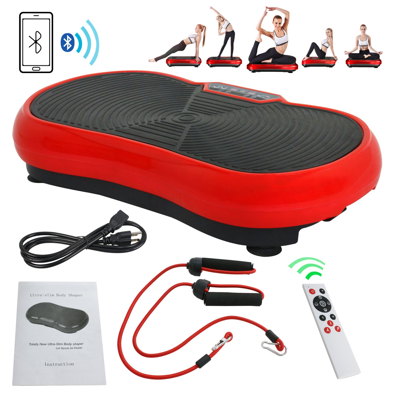 Fitness Vibration Platform Full Body Workout Machine Vibration Plate W/Remote Control and Balance Straps, Bluetooth Exercise Equipment(Red)