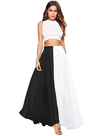 f245ac77d Amoretu Womens Flowy Chiffon High Waist Color Block Long Maxi Skirt Black  White S at Amazon Women's Clothing store: