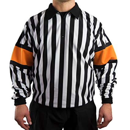 cce27dc1f8f Amazon.com : Force Pro Hockey Referee Jersey w/Orange Armbands ...