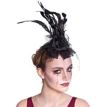 Halloween Black Widow Mini Black Fascinator Hat With Feathers /& Clip Fancy Dress