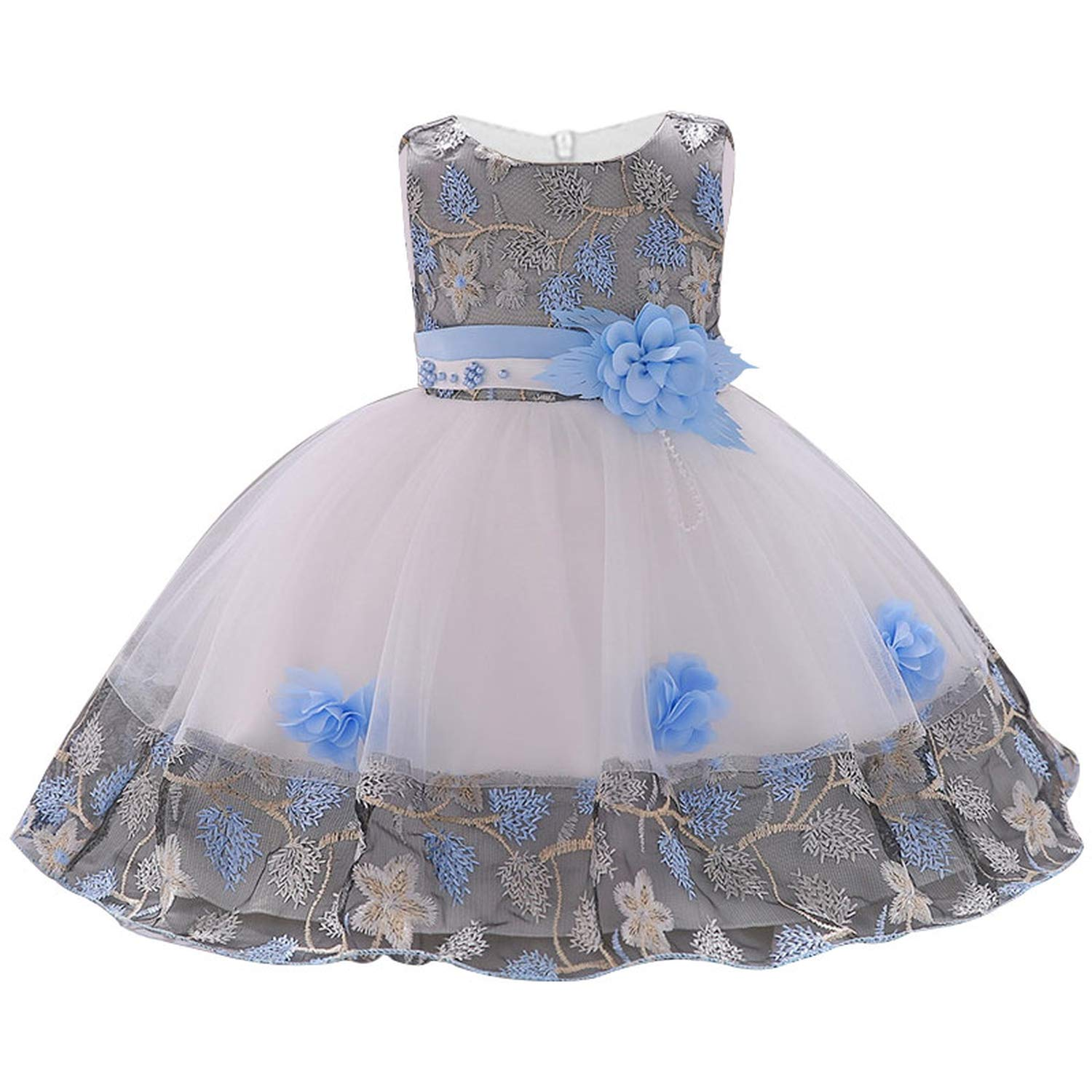 Children Princess Party Kids Dresses for Girls Cake Tutu Lace Flower Girls 1-8 Yrs Baby Girls Clothes Kids Wedding Party Dress,Sky Blue,6