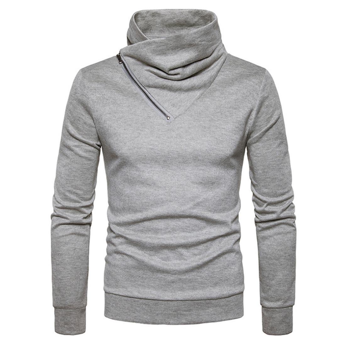 YANG-YI Mens Autumn Slim Blend Turtleneck Neck Basic Zipper Sweatshirt Sweats