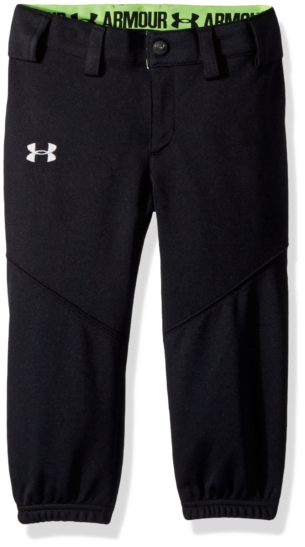 Under Armour Girls' Base Runner Softball Pants, Black (002)/Overcast Gray, Youth Medium by Under Armour (Image #1)