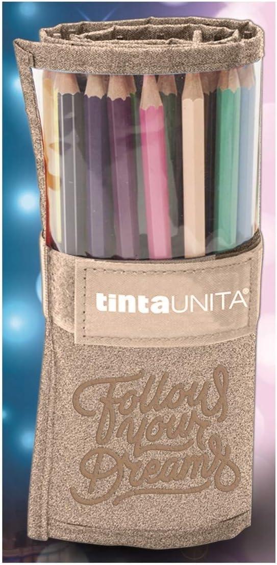 Astuccio Rotolo 25 Pastelli TINTA UNITA Glitter-Segui i Tuoi Sogni. 1 Oro Rosa