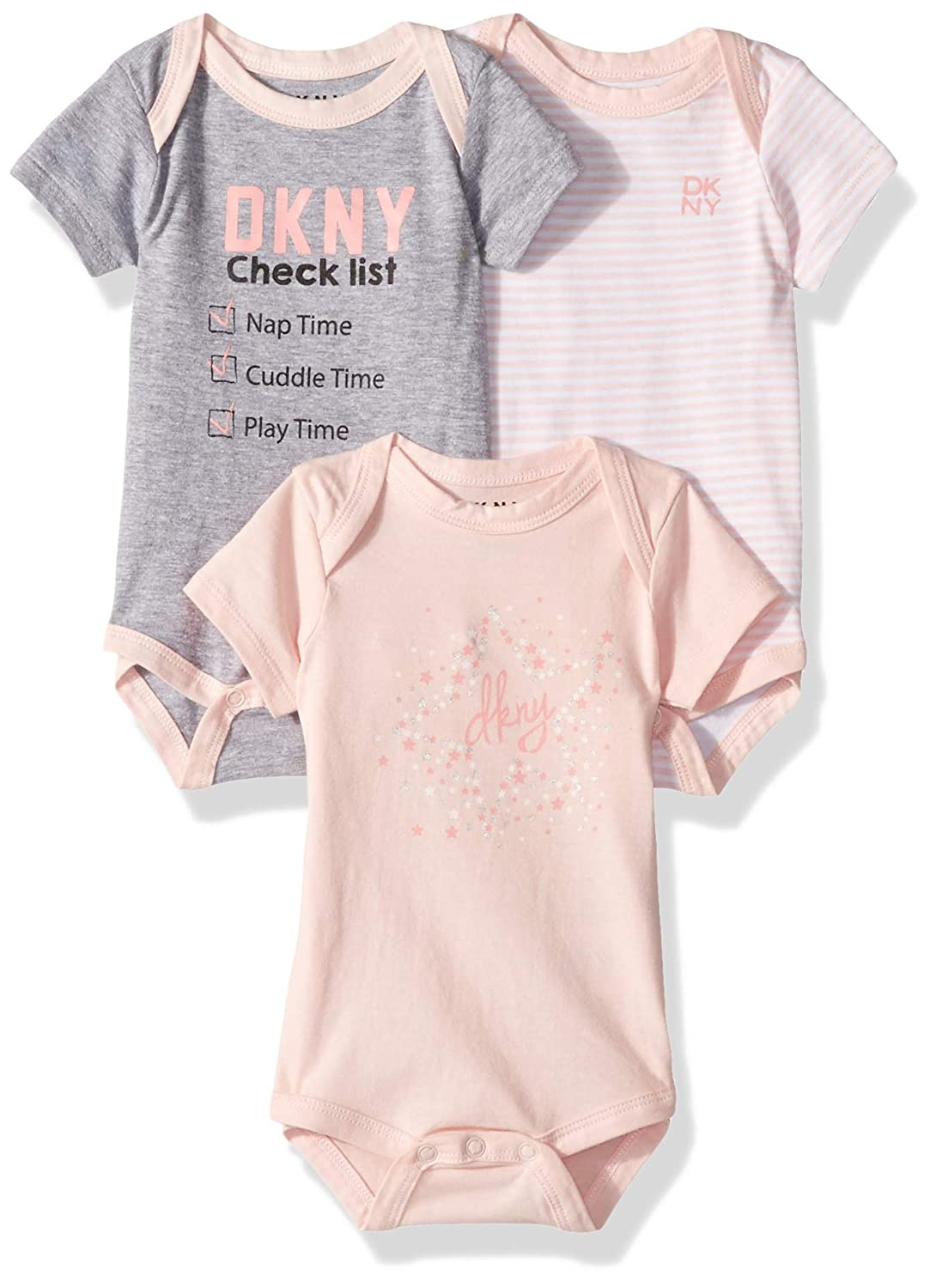 DKNY Baby Girls 3 Pack Check List Creeper Set DG_1916