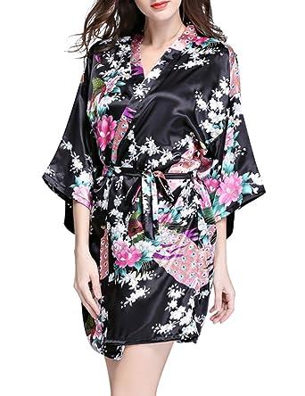 RONSHIN Women Imitated Silk Dress Peacock Pajamas Large Size ...