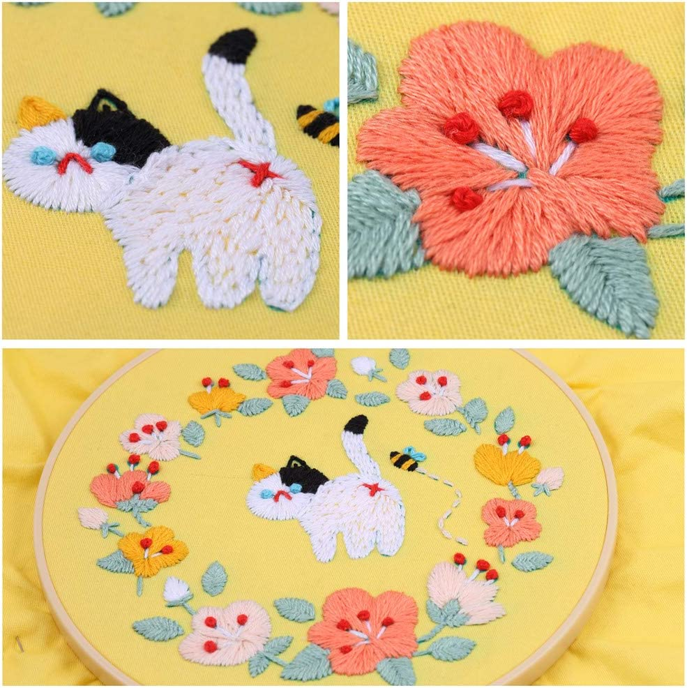 Lucky Goddness Full Range of Embroidery Starter Kit with Floral Pattern
