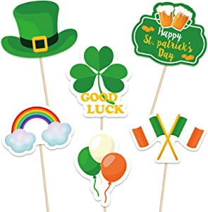 St.Patrick' s Day Cupcake Toppers Decorations - Shamrock Lucky Irish Food Picks Appetizers Toothpicks Sticks Party Supplies 144Ct