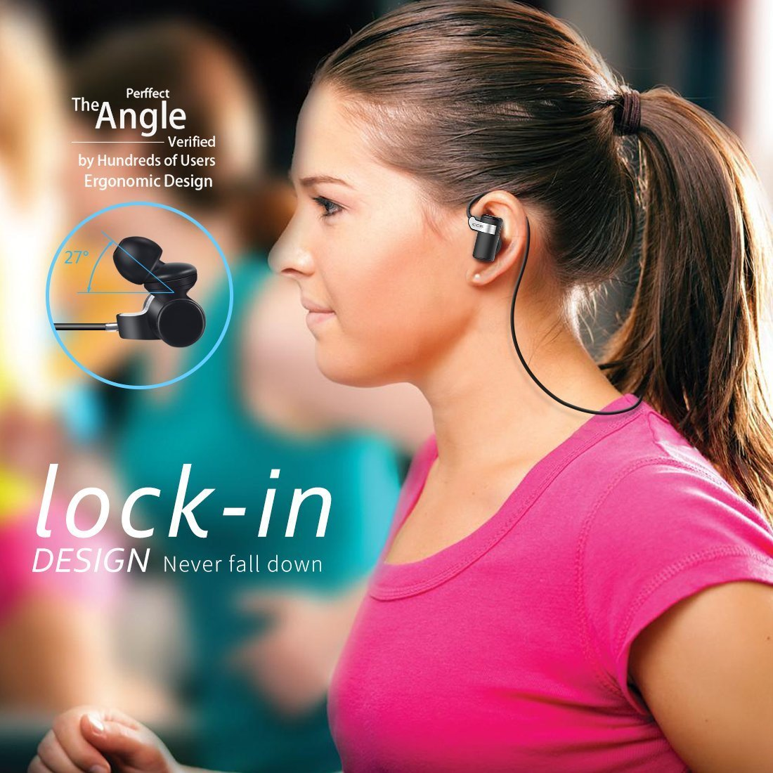 Bluetooth Headphones CCK Wireless Earbuds Sports Best Running Earphones Hi-Fi Stereo Noise Cancelling Sweatproof for Gym Workout Exercising Fashionable In Ear Headsets Computer iphone Android Black