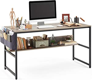 Linsy Home Computer Desk with Bookshelf and Storage Bag, 55 Inch Study Writing PC Laptop Table, Home Office Desk, Modern Simple Design for Small Space, Grey