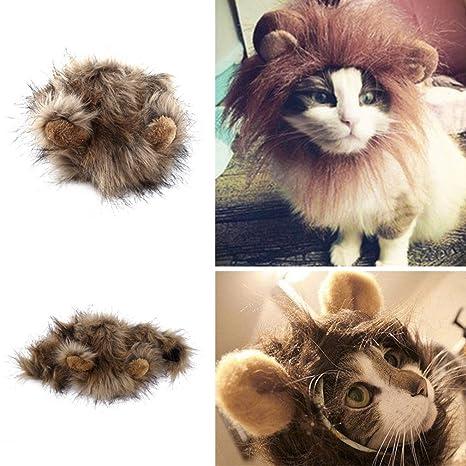Ballylelly - Peluca de León para Gato, Perro, Halloween, Navidad, Fiesta,