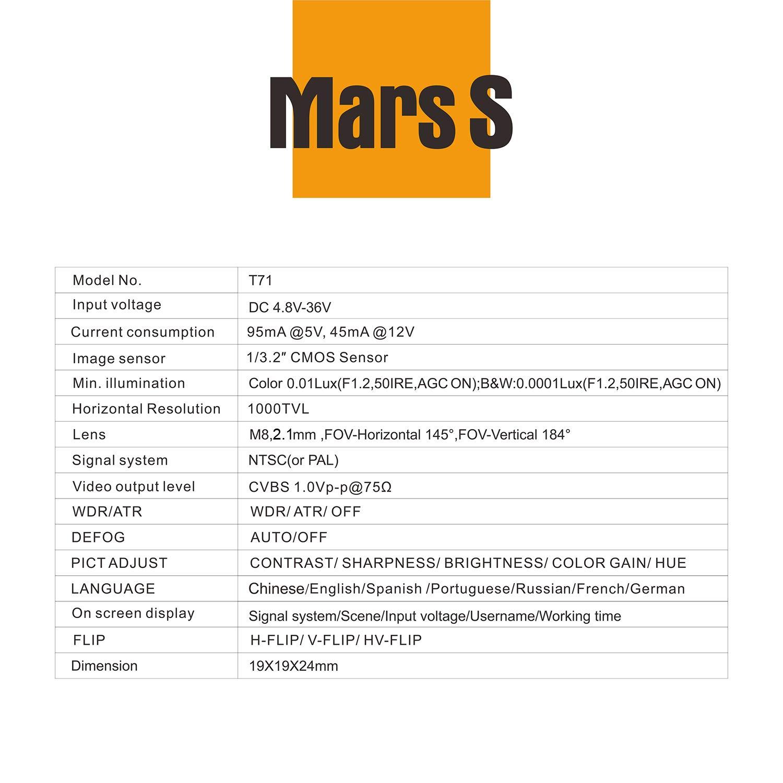 FXT T71 Mars S Camera 1000TVL Mini Camera with OSD Orange: Amazon co