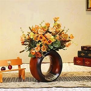 Antique Wood Grain Round Ceramic Vase For Centerpieces Living Room Christmas Birthday Wedding Party Gift Desktop Home Decor