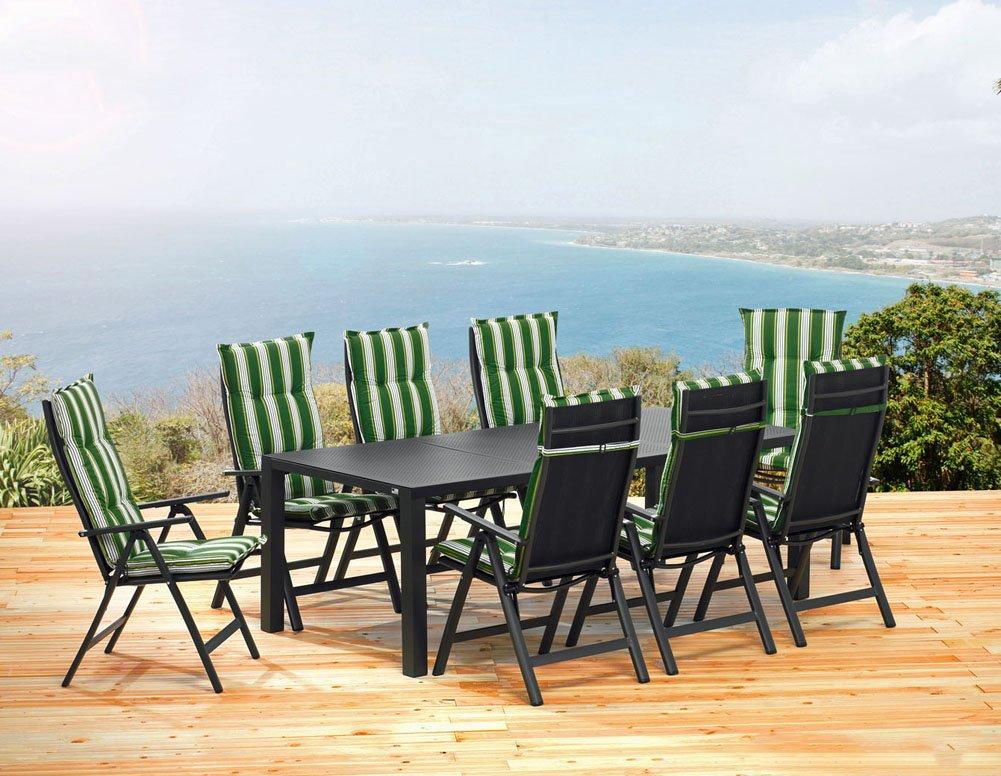 1 gartentisch 220 cm 8 klappsessel 8 auflagen sun garden london set online kaufen. Black Bedroom Furniture Sets. Home Design Ideas
