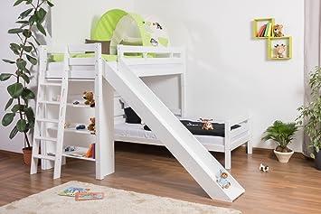 Etagenbetten Mit Rutsche : Kinderbett etagenbett pauli buche vollholz massiv weiß lackiert mit