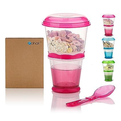 Recipiente para cereales de viaje con compartimento de refrigeración para leche, con cuchara